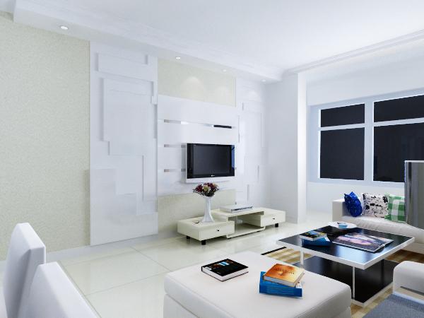 现代简约白色系风格客厅装修图