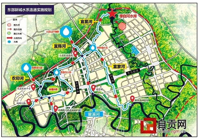 东部新城水系连通规划图-自贡拟投资百亿 新建8条河打造 南国水乡